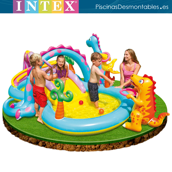 Piscina hinchable con tobog n y dinusaurios intex for Piscinas desmontables hinchables