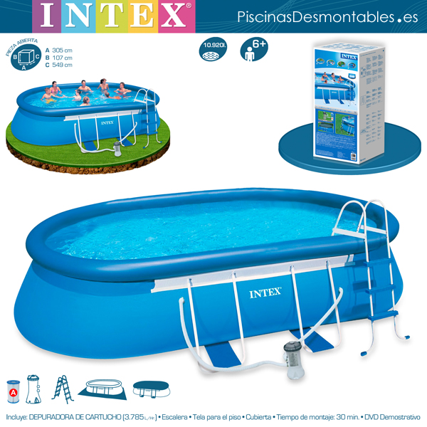 Piscinas intex diversi n y buen precio for Piscinas rectangulares intex