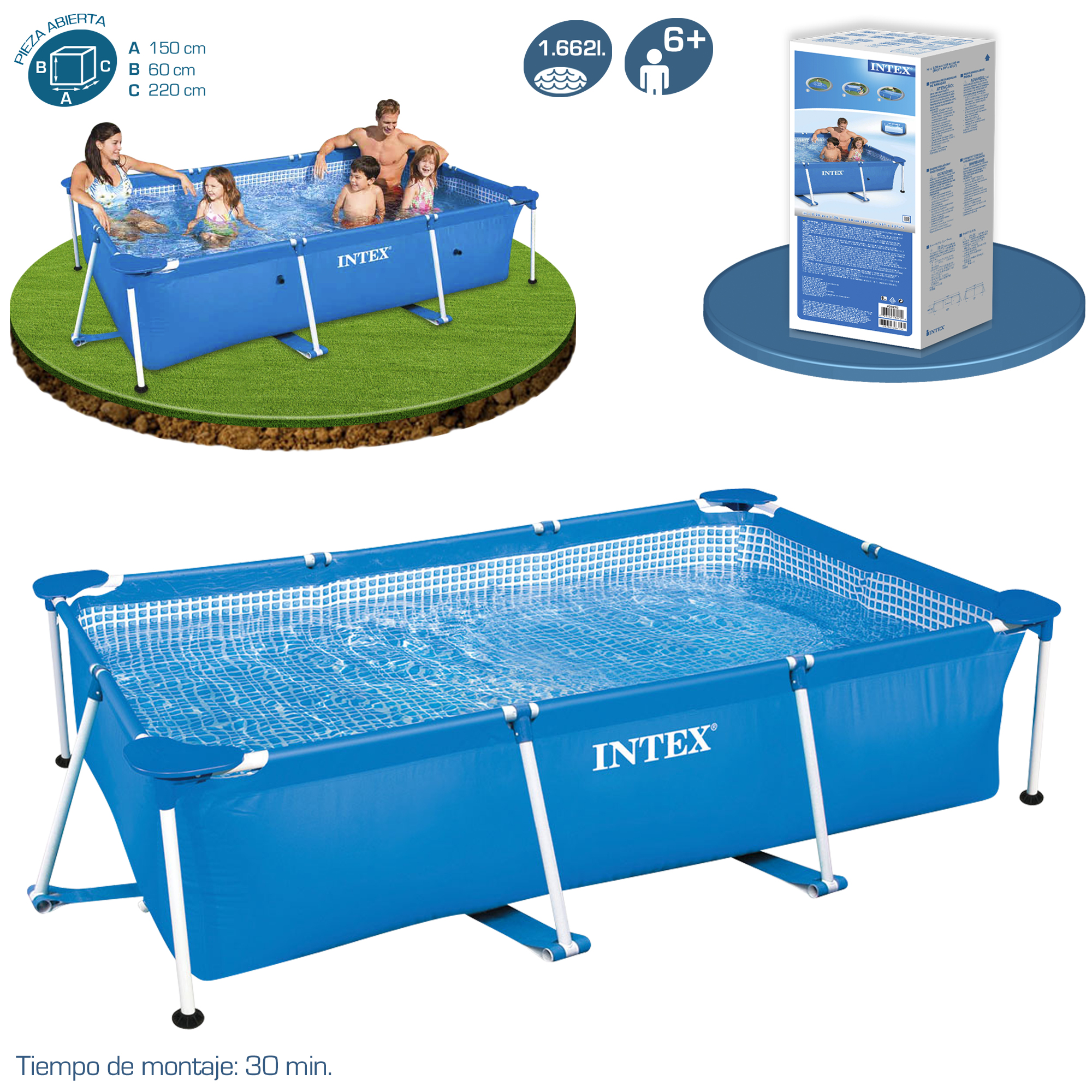 Piscina intex small rectangular frame piscinas desmontables for Piscina desmontable rectangular 3x2