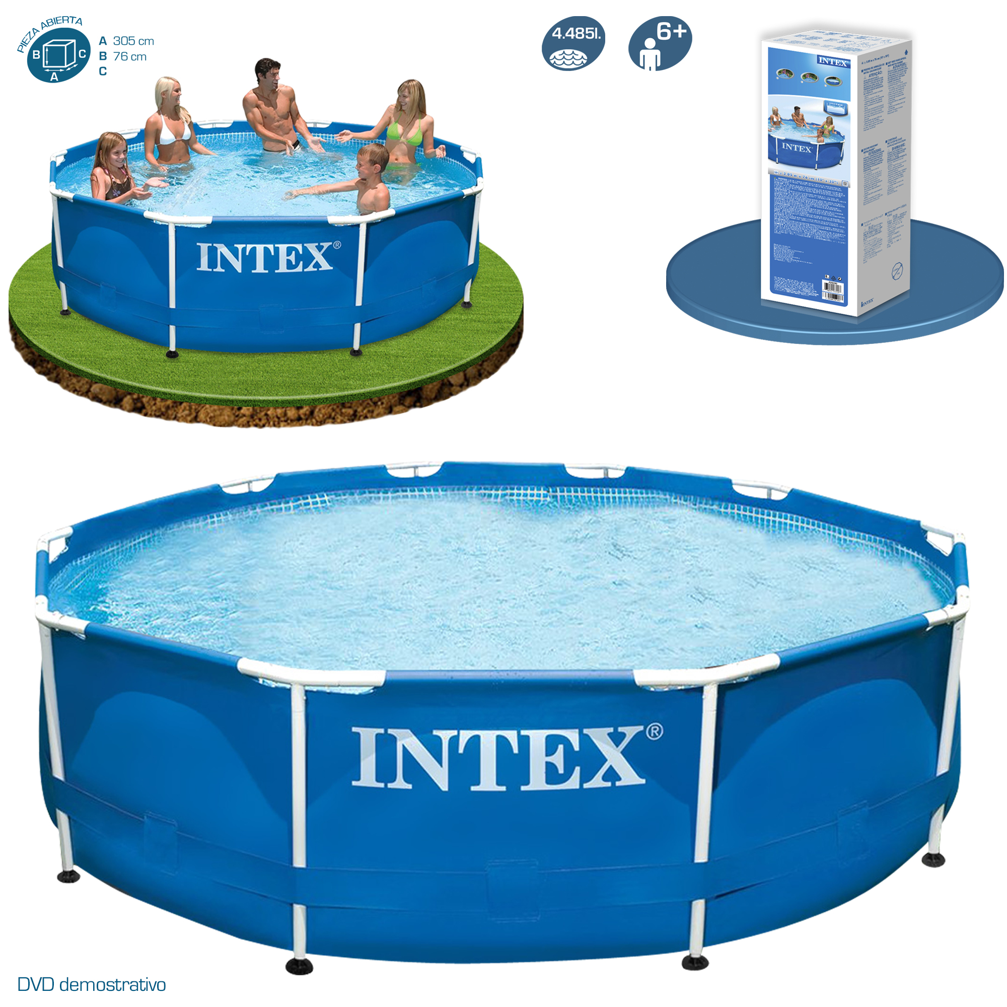 Piscina metal frame 305x76 intex 28200 28202 piscinas for Piscinas desmontables infantiles