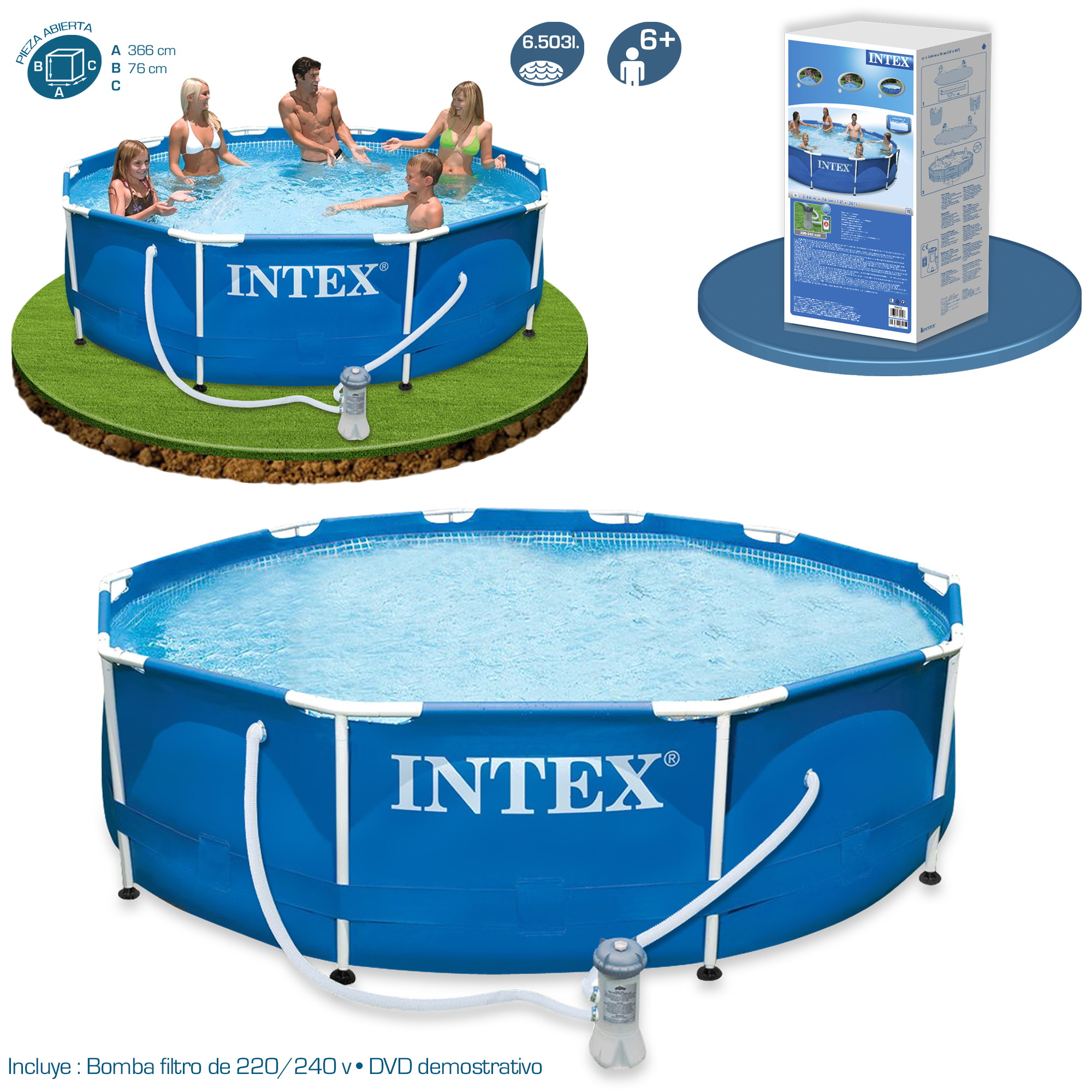 Piscina intex metal frame 366x76 28212 piscinas desmontables for Alberca intex redonda