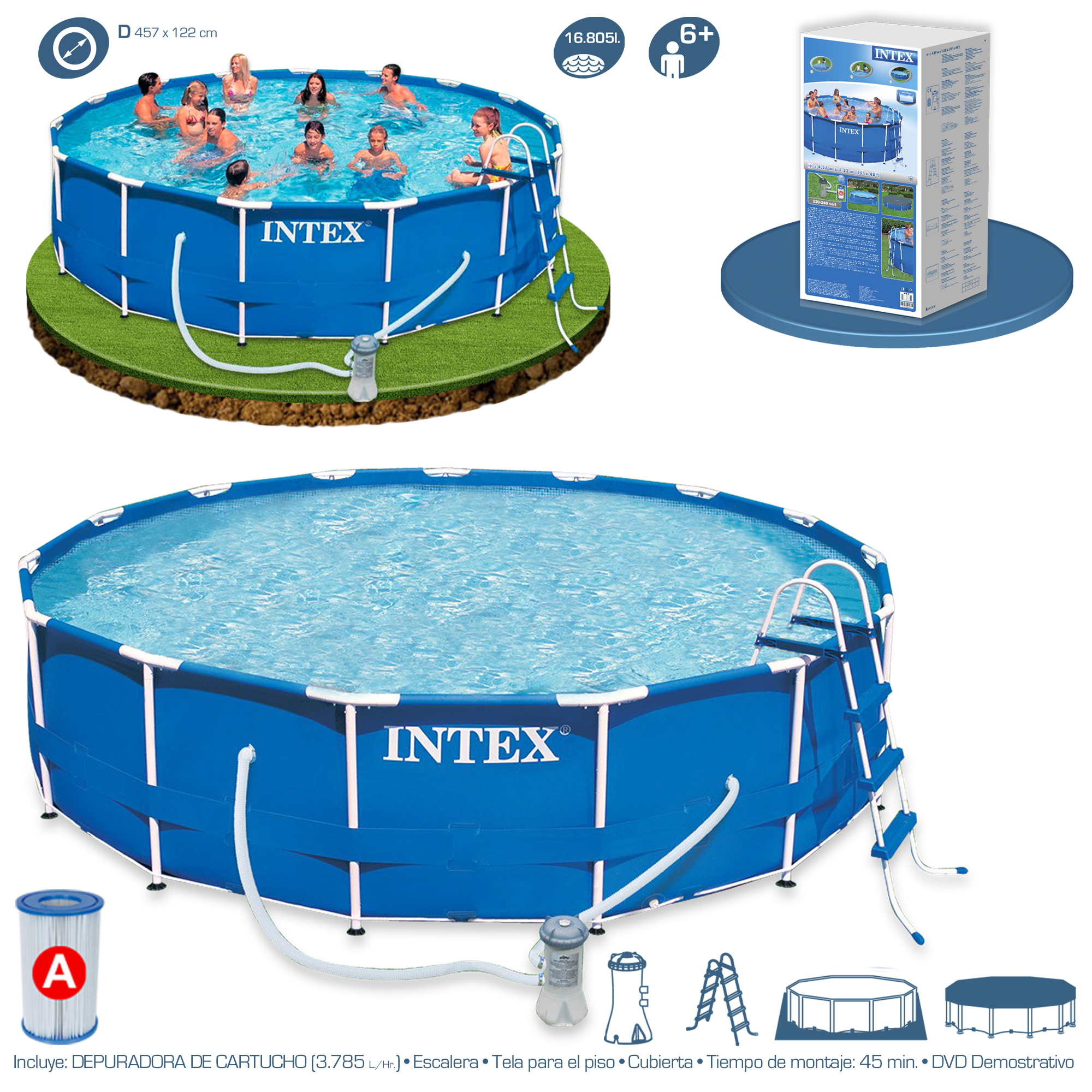 Piscina intex metal frame 457x122 28236 piscinas for Piscinas de pvc precios