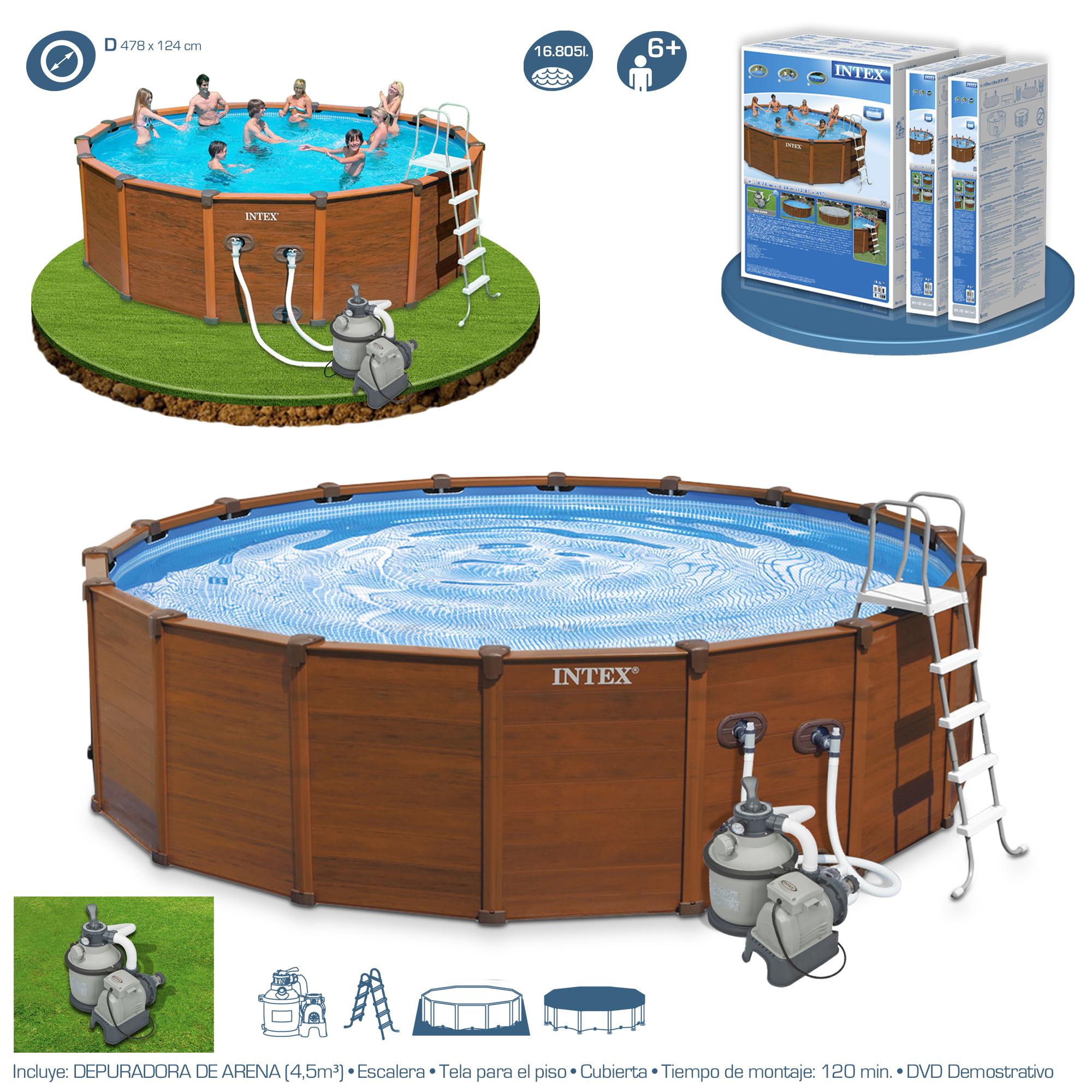 Piscina intex sequoia spirit 478x124 imitaci n madera 28382 piscinas desmontables - Escalera piscina segunda mano ...