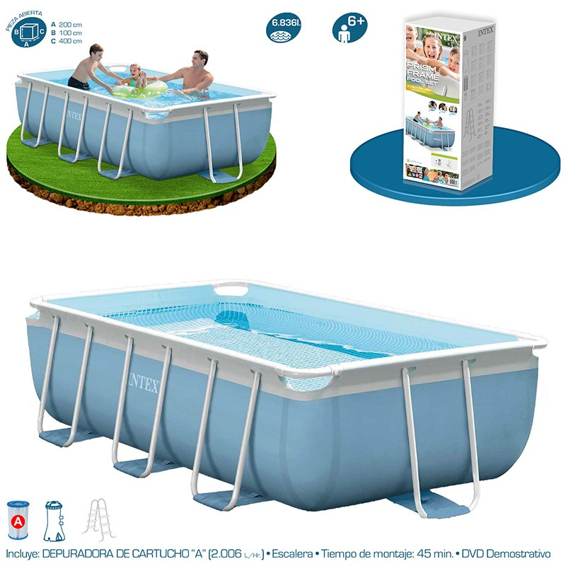 Piscina intex prisma frame 400x200x100 28316np piscinas for Piscinas rectangulares desmontables con depuradora