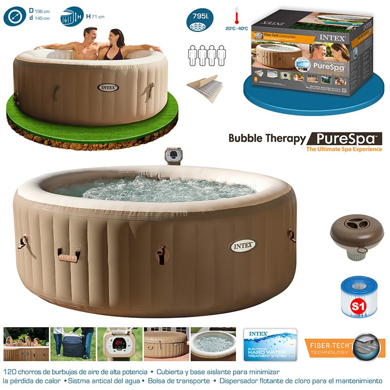 Spa intex purespa bubble therapy para 4 personas 28404ex for Jacuzzi hinchable carrefour