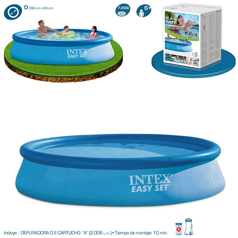 Piscina intex easy set 396x84 28142np piscinas desmontables for Piscinas desmontables intex