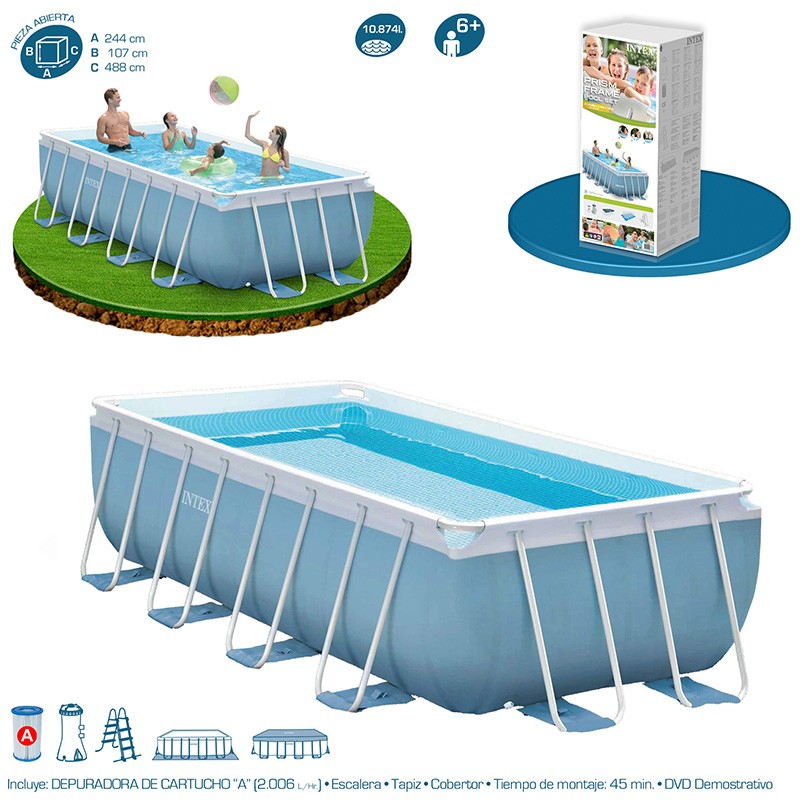 Piscina intex prisma frame 488x244x107 28318np piscinas for Piscinas desmontables intex